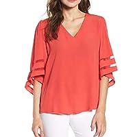 Shy Velvet Women's V Neck 3/4 Bell Sleeve Chiffon Blouse Mesh Panel Loose Top Shirts