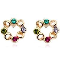 Fashion Plaza - E365 - Boucles D'Oreille Clou- Femme - 18K Plaqué Or Couronne Avec Cristal Violet Vert Bleu