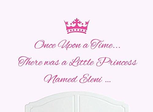 ONCE UPON A TIME THERE WAS A LITTLE PRINCESS LLAMADO ELENI GRANDE ADHESIVO DECORATIVO PARA PARED/DE VINILO CAMA HABITACION ARTE CHICA/BEBE