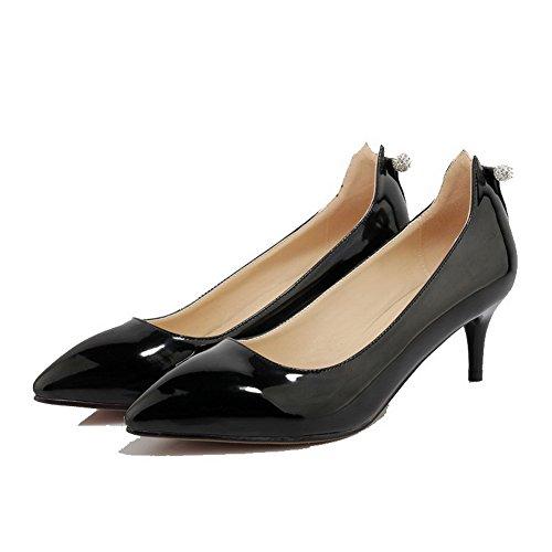 AllhqFashion Femme Mosaïque Pu Cuir à Talon Correct Pointu Tire Chaussures Légeres Noir