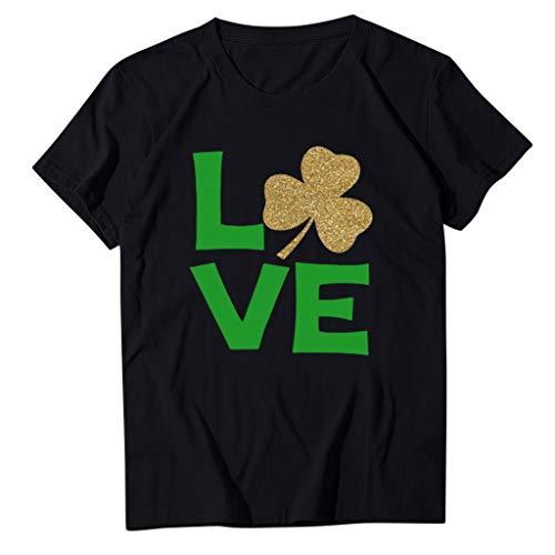 yazidan St. Patrick\'s Day Oberteil Damen Mädchen Kurzarm T-Shirt Frauen Love Klee Gedruckt Sommer Casual Fun Shirt Bluse Hemd Pullover für St. Patrick Tag