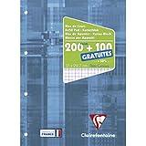 Clairefontaine 65816C - Un bloc de cours encollé grand côté 300 pages (200 + 100 gratuites) 90g, perforé 4 trous et petits ca
