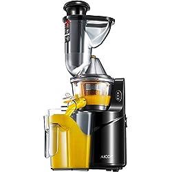 Aicok Centrifugeuse, Slow Juicer, ouverture large de 75mm Extracteur de jus de fruits et légumes avec pichet et brosse de nettoyage