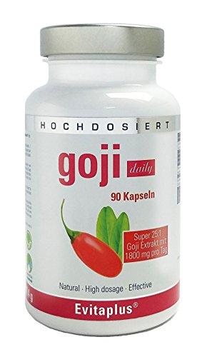 Goji DAILY 1.800mg 25:1 90 Kapseln – Höchstdosiert – Premium Qualität auch für Veganer