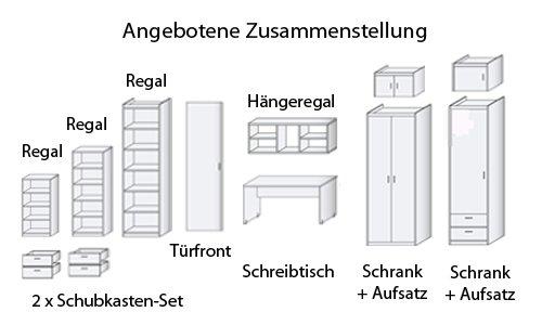 Regal- und Schranksystem Gesamtbreite ca. 442 cm in Buche-Dekor aus Soft Plus von CS Schmal - 3