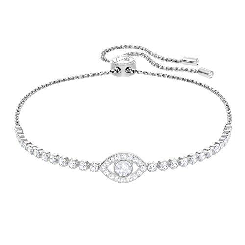 Swarovski Subtle Evil Eye Armband, weiss, rhodiniert (Swarovski-charme-armband)