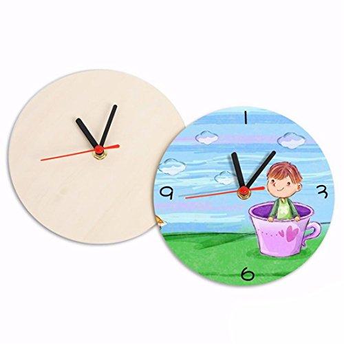 WERLM Wanduhr Uhr handgemalte Wanduhr DIY Wecker Kinder hausgemachte aus lackiertem Holz Clock ist eine Familie Restaurant küchen Büro Schulen sind ideal für jeden Raum, ()