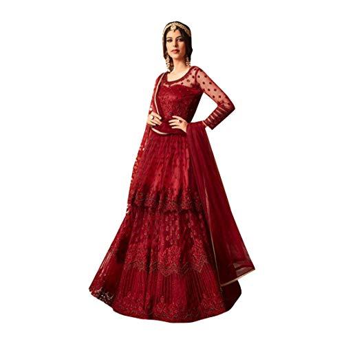 ETHNIC EMPORIUM Damen Rote Braut Designer Netto-Long-Muslim Anarkali Salwar Kameez indischen Abendanzug Christian Braut Trau 7753 28 bis 44 Zoll Größe Büste Wie gezeigt (Netto-long-kleid)