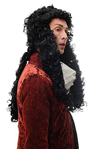 103 Perücke Herren Karneval Barock Renaissance Adliger Lord Prinz König Louis XIV Ludwig Schwarz Lang Locken 70 cm ()