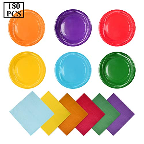 YOTINO 120Pz Tovaglioli per bevande arcobaleno Cocktail carta tovagliolo + 60 pezzi Piatti di carta colorati Set piatto da festa per bambini Set da tavola per feste di compleanno