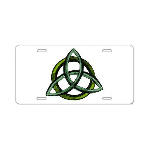 CafePress–Triquetra verde–aluminio placa de licencia, frontal Placa de Licencia, etiqueta de tocador por CafePress