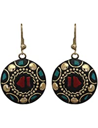 ZIKU JEWELRY Red Non-Precious Metal Tibetan Style Dangle and Drop Hook Round Earrings for Women