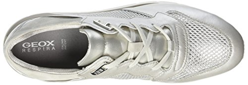 Geox D Shahira B, Sneakers Basses Femme Argent (Platinum/Ivoryc2228)
