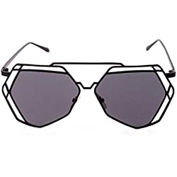 a-goo twin-beams Geometrie Design Frauen Metall Rahmen Spiegel Sonnenbrille Cat Eye Brille