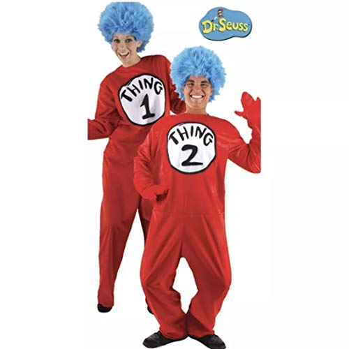 Kostüme USA Dr. Seuss Thing 1 & Thing 2 Einteiler Halloween Kostüm für Erwachsene, Größe S/M