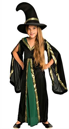 Magicoo Zauberin Hexenkostüm Kinder Mädchen grün schwarz & Hexenhut - schickes Halloween Kostüm Hexe Kind, Gr. 110-140 ()