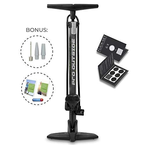 PRO OUTSIDE Premium Fahrradpumpe bis 11 bar für alle Ventile I Gratis Flick-Set und Zubehör I Luftpumpe Fahrrad alle Ventile I Standpumpe & Fahrradluftpumpe mit Garantie