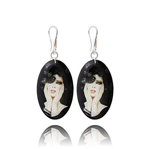 Ovale Ohrringe in Schwarz mit Frauengesicht für Stil Außergewöhnlich