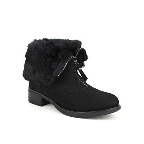 Cendriyon Bottines Noires Fourrure NIONIO Chaussures Femme Noir