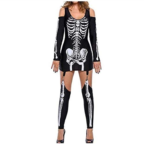 SPFAZJ Maskerade Skeleton Print Sexy Schulterfreies Halloween Dark Performance Kostüm