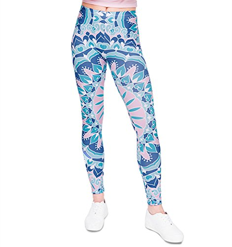 CHIC DIARY Damen bunt Sport Strumpfhose Leggings mit muster Fitness Yoga Joggen Pants Hose Mehrfarbig One size (Strumpfhosen Leggings Yoga)