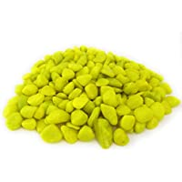 Ercole® Polished Colored Stone Marble Pebbles for Home Garden Aquarium Outdoor Decoration (Lime, 1 Kg)
