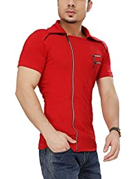 Tees Collection Men's Cotton Half Sleeve Side Zipper Red Color Stylish T-Shirt With Collar