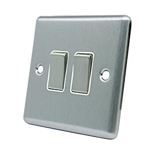 Light Switch Double 2 Gang - Satin Matt Chrome - Square - White Insert - Metal Rocker Switch - 10 Amp 2 Gang 2 Way