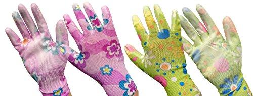Hdk-Versand Gartenhandschuhe für Damen mit Blümchenmuster im 2er Pack und großflächiger Latexbeschichtung in der Innenhandfläche keine Farbauswahl möglich