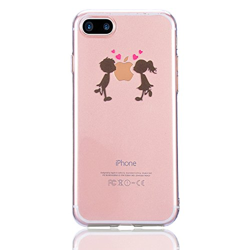 "Coque iPhone 7 Plus, Sunroyal iPhone 7 Plus 5.5"" Silicone Coque de Protection Transparente TPU Gel Souple Etui Housse Anti-choc Shock-Absorption Bumper Case Cover Premium Ultra-Mince Motif Impression  Motif 14"