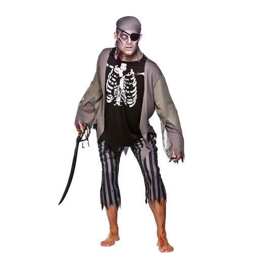 Zombie skeleton pirate halloween costume - size m (eu 41