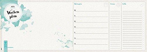 Notizblock 'Wochenplaner - Aquarell' | Schreibtischunterlage | Wochenkalender | 52 Blatt | 45 x 16...