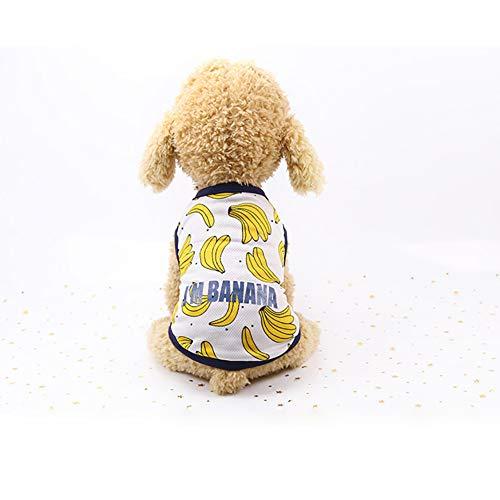 strimusimak Cute Banana Print Puppy Dog Pet Breathable Summer Bandage Ruffled Dress Vest-XS Vest