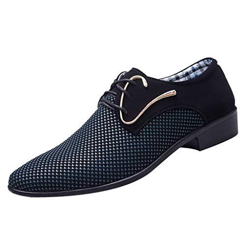 CixNy Herren Anzugschuhe Oxford, Lederschuhe Derby Business Casual Schuhe England Tuch Loafers Hochzeit Schnürhalbschuhe Schwarz Dunkelblau 39-47 (Dunkelblau, 43) - Herren Loafer Gurt