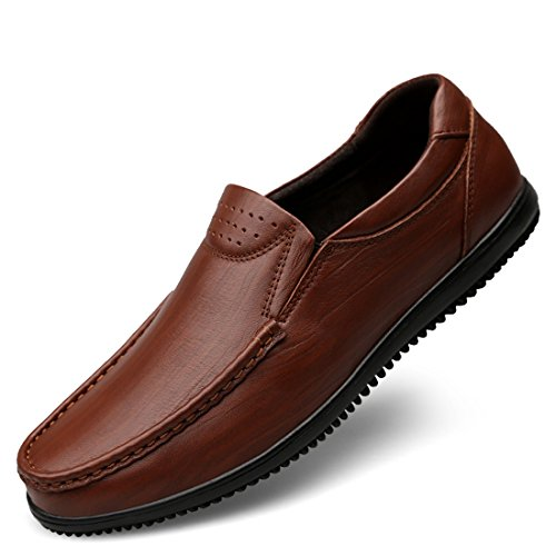 Minitoo Boys Mens Breathable Round Toe Synthetic Casual Loafers Brown