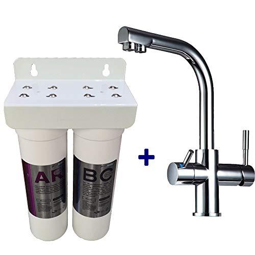 Delta 10 Block (purway Crystal Group PUR Smart Duo Antikalk Set Wasserenthärtung Chlor + 3-Wege Wasserhahn Delta)