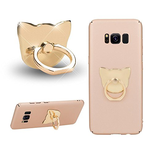NALIA Fingerhalterung Ring-Halter Katze, Verstellbarer Fingergriff für Einhandbedienung Smartphone Universal-Ständer Multi-Winkel, kompatibel mit iPhone, kompatibel mit Samsung, etc, Farbe:Gold (Ring-halter Katze)