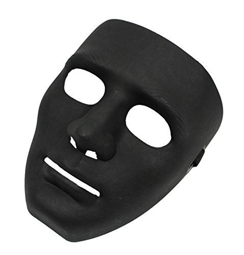 Meloo Vendetta Anonymus Jigsaw Karneval Fasching Maskerade Halloween Party Horror Maske Cosplay Geburtstag Maske (Neutral Schwarz) (Vendetta Kostüm Deluxe)