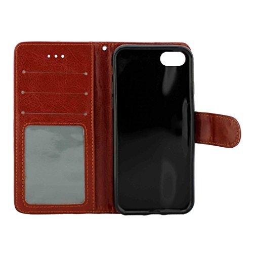 iPhone Case Cover Pour iPhone 7 Plus Crazy Horse Texture Etui en cuir horizontal Flip avec porte-cartes et fentes pour cartes et portefeuille et cadre photo ( Color : Brown ) Brown