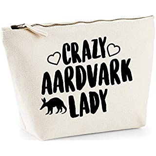Hippowarehouse Crazy aardvark lady printed make up cosmetic wash bag 18x19x9cm