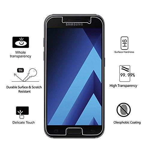 Panzerglas für Samsung Galaxy A3 2017 Schutzfolie, [3 Stück] DAYUP Displayschutzfolie für Samsung A3 2017, 9H Härte-Anti-Öl, Kratzer, Blasen und Fingerabdruck