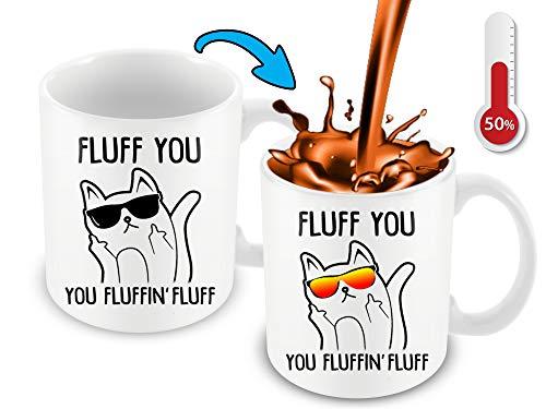 Hitzeempfindliche Kaffeetasse mit Farbwechsel, lustige Kaffeetasse, Fluff You, You Fluffin Flusen-Katze Design, lustige Geschenkidee (Jeden Ist Tag Halloween-chef)