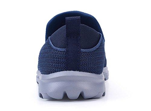 Santiro Herren Walkingschuhe Low-Top Slip-On-Sneaker Marineblau