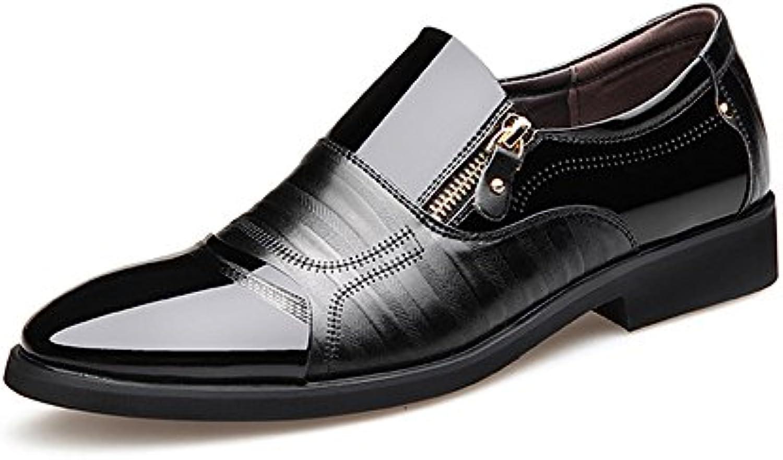 Lederschuhe Herren Business Schuhe Glatt PU Leder Splice Zipper Dekoration Slip on Atmungsaktive Mesh Oxfords