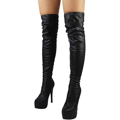 Dames Cuisse haute Party Stylet Talon Plate-forme Au-dessus du genou Bottes Taille 36-41 Noir PU