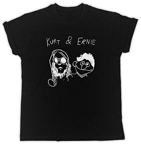 Kurt & Ernie Kurt Cobain T Shirt Funny Humor Mens Womens Unisex Tee (Medium, Black)