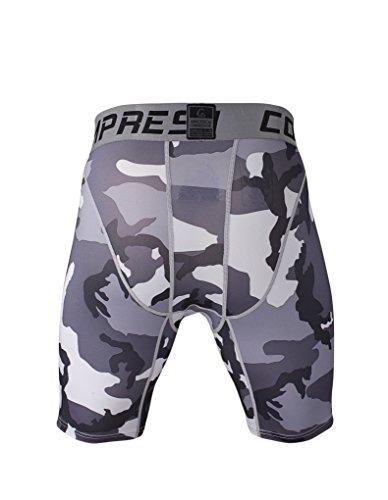 Fringoo Workout-Kompressions-Shorts für Herren, Thermo-Hose für Sport, CAMO GREY shorts - 3