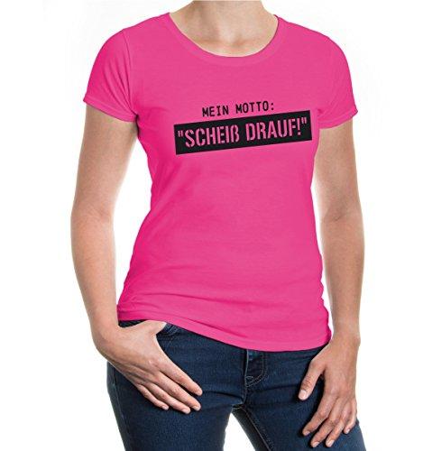 buXsbaum® Girlie T-Shirt Mein Motto Scheiss drauf Fuchsia-Black