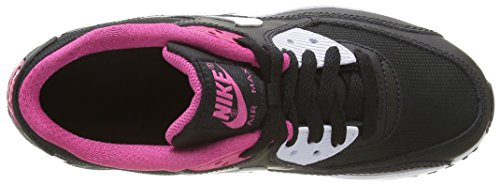 Nike Air Max 90 Mesh (GS), Chaussures de Sport Fille Noir (Black/White Vivid Pink)