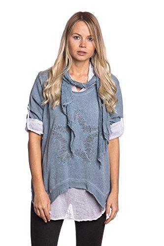 Abbino 6494 Langarmshirts Tops Damen - Made in Italy - 6 Farben - Übergang  Frühling Sommer